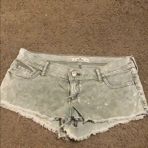 Hollister green and white tye dye look shorts
